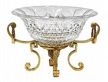 Continental gilt bronze and crystal centerpiece