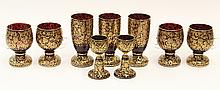 (lot of 9) Continental ruby and gilt stemware group