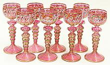 (lot of 8) Moser handpainted and enamel decorated stemware group