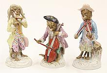 (lot of 3) Continental porcelain monkey orchestra members in the style of Meissen