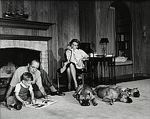 Photograph, Sid Avery, Bogart, Becall, and Stephen in their Living Room