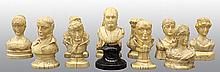 (lot of 12) Continental Napoleonic miniature ivory busts