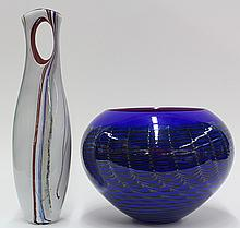 (lot of 2) Art glass vessels