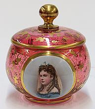 Bohemian cranberry glass powder box