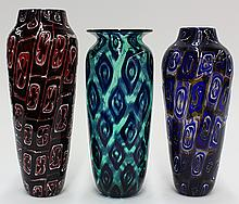 (lot of 3) Art glass vases by Michael Nourot (American b