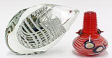 (lot of 2) Art glass group in the modernist taste