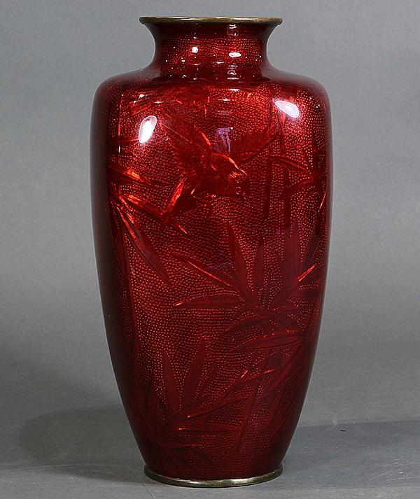 Japanese Cloisonne Red Ginbari Vase
