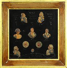 Edward William Wyon (1811-1885), Ten 'Battle of Trafalgar' portraits, each bust executed in painted wax, mounted in one frame, inclu.