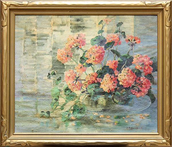 Painting, John M. Reinhard, Geraniums