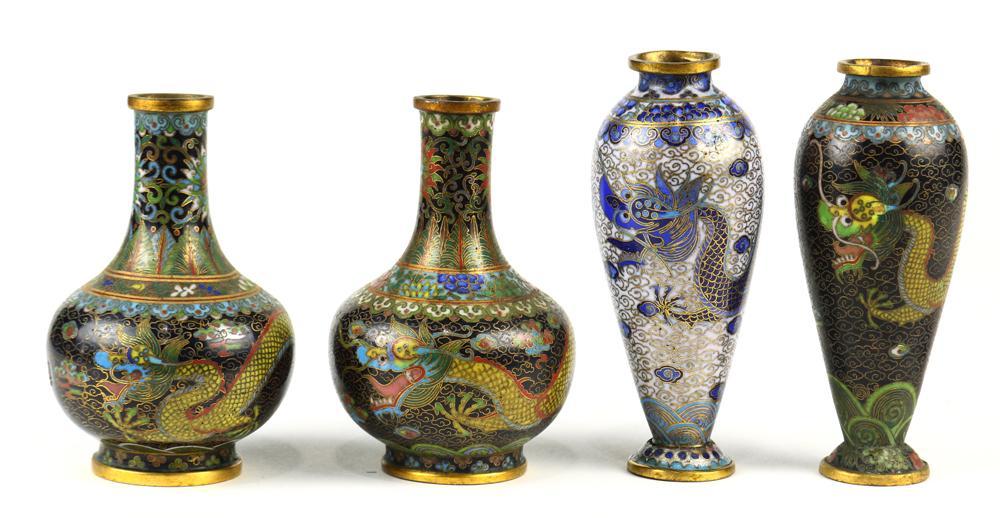 Three Dragons Antique Cloisonne/' Vase