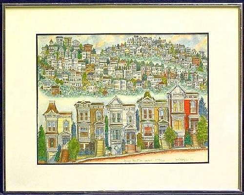 Lithograph San Francisco G.C. Bayz Framed handcolored lithograph, Laguna Street, San Francisco, signed G.C. Bayz lower right, ...