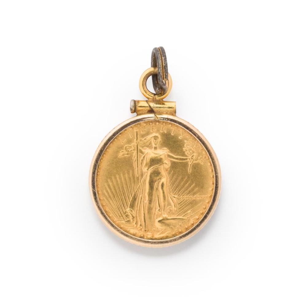 A gold coin pendant