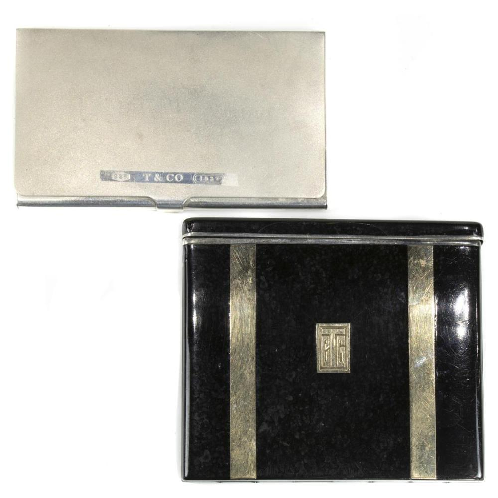(lot of 2) Sterling Silver card and cigarette case group, consisting of an Art Deco 14k gold on sterling silver cigarette case, the...