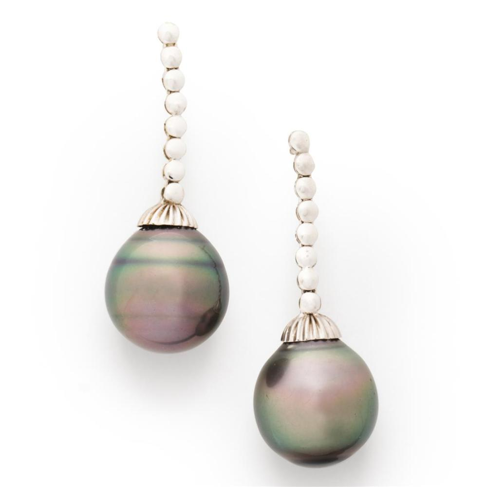 A pair of Tahitian South Sea pearl earrings