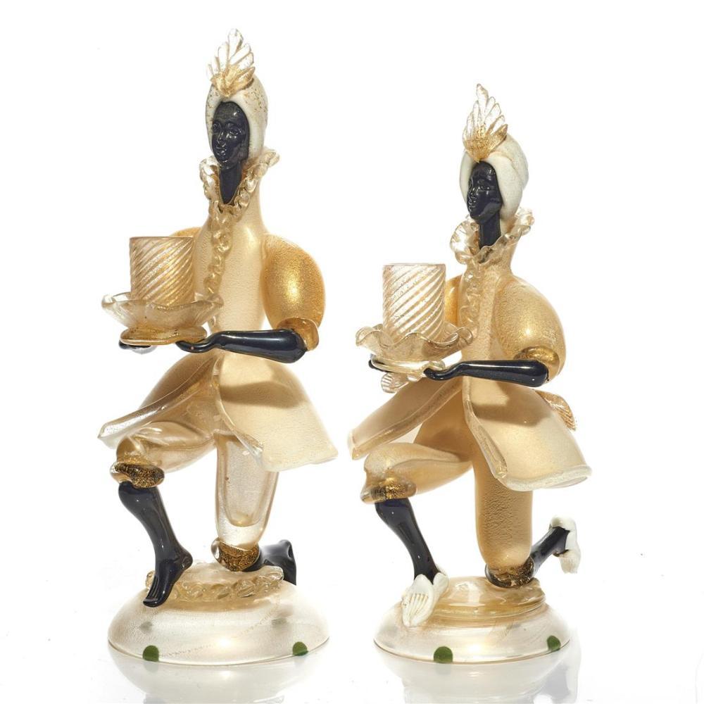 A pair of Venetian Murano candlesticks
