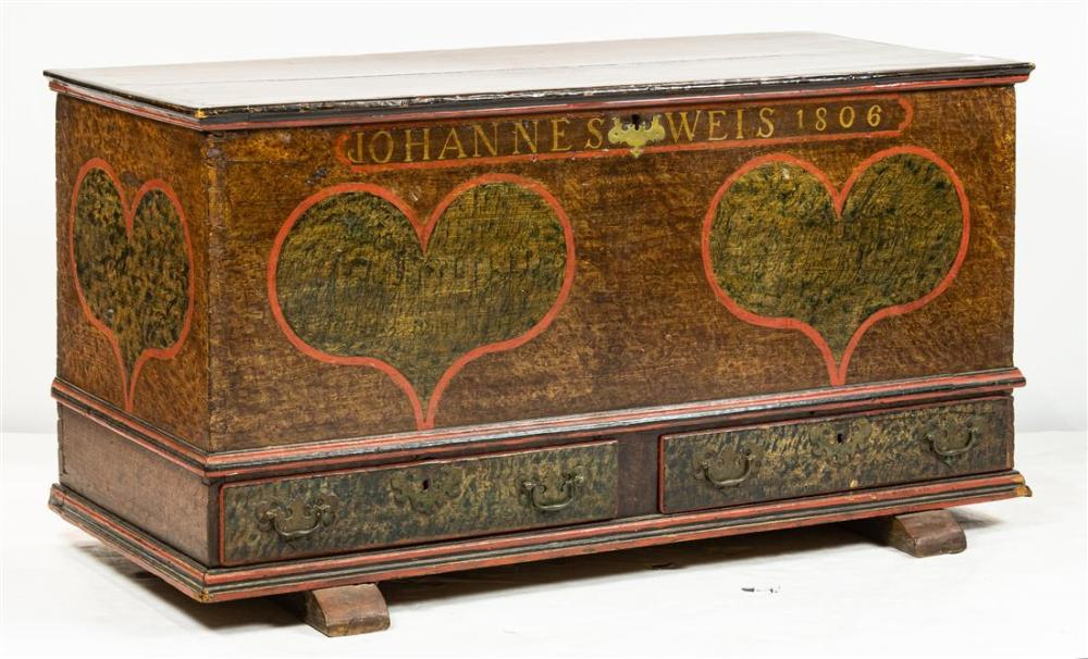 A Chippendale grain and polychrome decorated blanket chest dated 1806