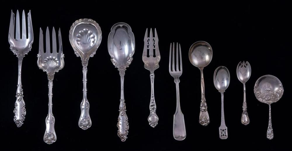 A (lot of 20) Mostly Shreve & Co manufactured or retailed sterling flatware