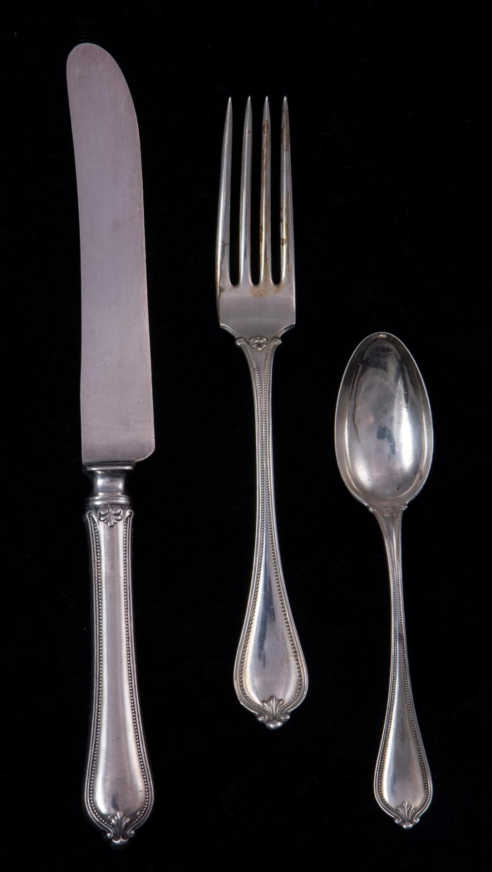 A (lot of 19) Towle Beaded sterling flatware service