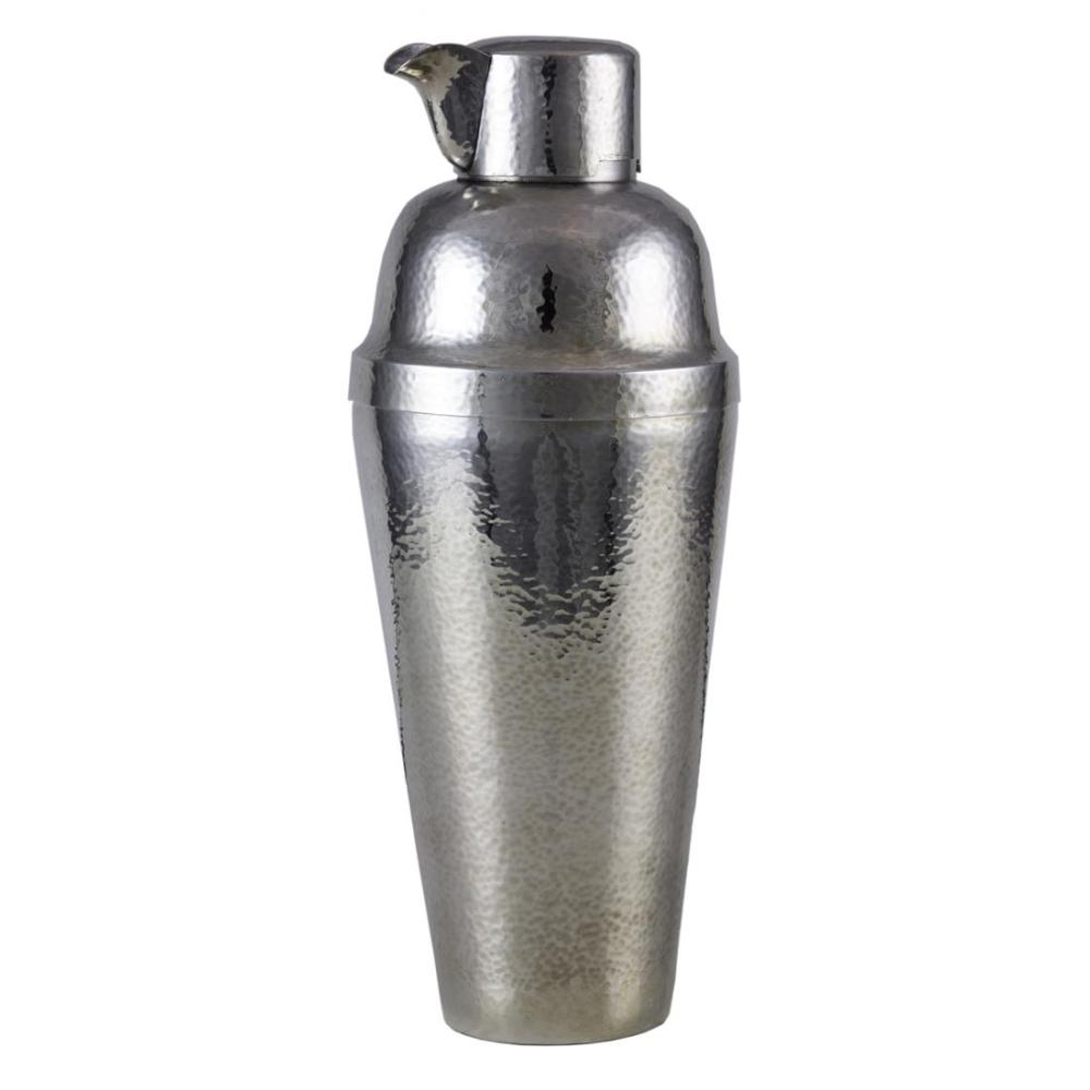 An Art Deco hammered sterling cocktail shaker, retailed by JE Caldwell