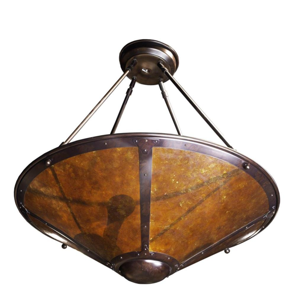 An Arts and Crafts style Mica Lamp Company patinated copper and mica hanging light fixture
