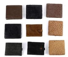 (lot of 9) Vintage leather and ostrich accessories, consisting of (3) ostrich cigarette cases; 4