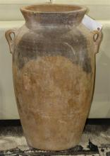 Greco Roman style terra cotta urn, the tapering ovoid body having a flaring rim, with (2) handles at the shoulder, 28