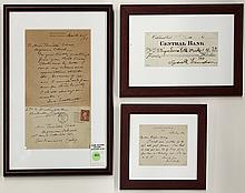 (lot of 3) Framed California letters and ephemera