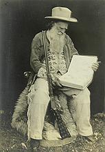 (lot of 4) Framed Joaquin Miller ephemera, consisting of a photograph of Joaquin, a photograph of the 'Hights' Oakland homestead, a .