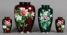 Japanese  Cloisonne Cloisonne Ginbari Vases
