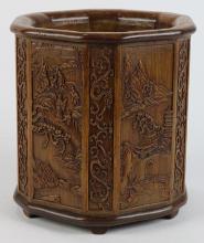 Chinese Bamboo Hexagonal Brush Pot