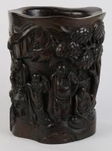 Chinese Carved Wood Brush Pot Luohan