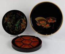 Japanese  Lacquered Box, Trays, Dishes