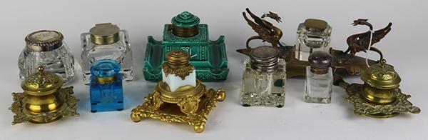 (lot of 10) Inkwell group including crystal and figural brass examples, largest: 4