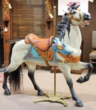 Large and exceptional outer row stander carousel horse by Daniel Muller circa 1909