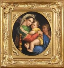 Large KPM porcelain plaque, depicting Madonna and child, verso marked with impressed KPM with scepter, and housed in a gilt frame, o...