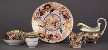 (lot of 6) Assembled English Derby Imari porcelain group late 18th / early 19th century, each having a partial gilt and floral decor...