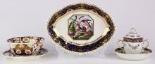 (lot of 5) Crown Derby soft paste porcelain group 1770-1830, each having partial gilt and floral reserves with cobalt borders, consi...