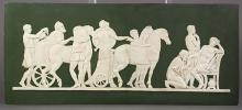 Josiah Wedgwood and Sons jasperware cameo plaque, 19th century, modeled by Pacetti, titled