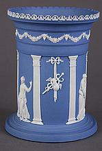 Josiah Wedgwood and Sons jasperware vase designed by John Flaxman (British 1755-1826), 18th century, having a cylindrical form decor...