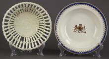 (lot of 2) Josiah Wedgwood and Sons Queensware fruit dish, circa 1780-1800, having a pierced body above a basket weave pattern base, 2