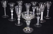 (lot of 10) Collection of British and Dutch wine and champagne glasses, 18th century, some having a baluster form, others with opaqu...