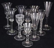 (lot of 10) Collection of British and Dutch wine and champagne glasses, 18th century, some having a baluster form, others with air t...