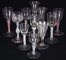 (lot of 11) Collection of British and Dutch wine and port glasses, 18th century, some having opaque twist stems, others in red and w...