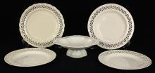 (lot of 5) Collection of British Leeds creamware plates, late 18th century including (4) associated plates each having a pierced bor...