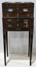 British cabinet on stand circa 1790, having Wedgwood and Bentley plaques mounted to the hinged rosewood case opening to a fitted and...