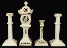 (lot of 4) British, Leeds, Senior factory creamware group, circa 1900, consisting of a night light, having a Chinese style pagoda fo...