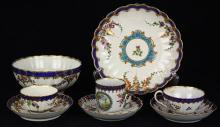 (lot of 8) Group of Worcester porcelain dessert tea and coffee wares, circa 1770-80, of