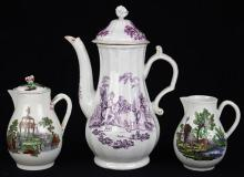 (lot of 3) Worcester porcelain printed coffee service wares, circa 1770, each decorated with pastoral views after Robert Hancock,  c...