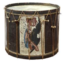 American Pre-Civil War parade drum, mid-19th Century, hand-painted depicting an eagle with spread wings, reading