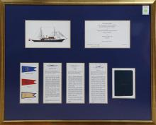 Framed nautical invitation from the Perkins family, to the christening of